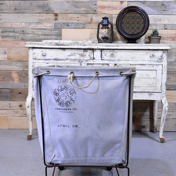Vintage Laundry Cart, Canvas Laundry Cart, McElmoyl Basket Containers Co, Madison Indiana
