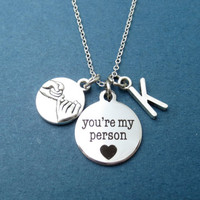 Personalized, Initial, Promise, You're my person, Your my person necklace, Grey's anatomy, Cute, Gift, Necklace