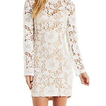 NUDE-LINED LACE BODYCON DRESS