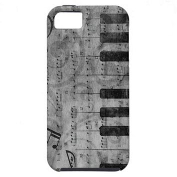 Cool antique grunge effect piano music notes iPhone 5 cases from Zazzle.com