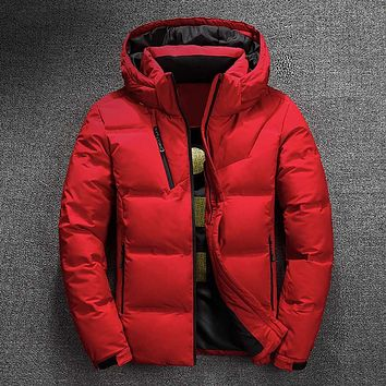 Winter Jacket Mens Quality Thermal Thick Coat Snow Red Black Parka Male Warm Outwear Fashion - White Duck Down Jacket Men