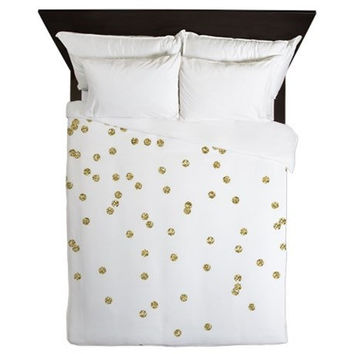 Duvet Cover - Gold Duvet Cover - Gold Dots Duvet - Girls Bedding - Girls Bedroom Decor - Teen Room Decor - Girls Duvet - Teen Duvet Cover