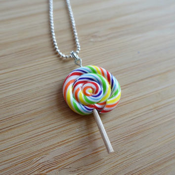 Rainbow Swirl Lollipop Necklace