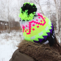 80's Neon Pixel Hat / USA Air Force Yellow Multicolour Knit Pom Pom Beanie Hat / Black, Lime & Pink 1980's Vintage Light Winter Ski Hat