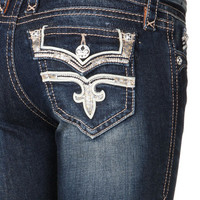 Rock Revival Posey Fleur de Lis Dark Wash Boot Cut Jean