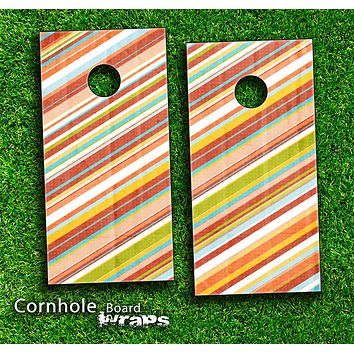 Colorful Striped Skin-set for a pair of Cornhole Boards