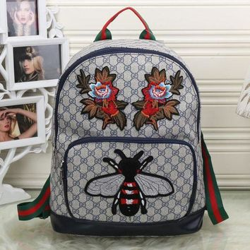 ICIKJG8 Gucci Women Fashion Leather Bee Flower Embroidery School Bookbag Backpack
