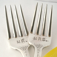 Wedding Cake Forks Vintage Hand Stamped Mr and by OliveSpoonStudio