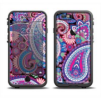 The Vibrant Purple Paisley V5 Apple iPhone 6 LifeProof Fre Case Skin Set