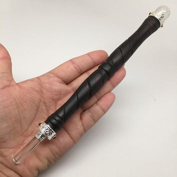 "1pc Rosewood Wand Healing Stick Clear Quartz Point & Ball ,9"" by 18mm, D504"