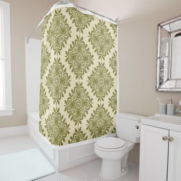 Green Mint Damask Pattern Shower Curtain