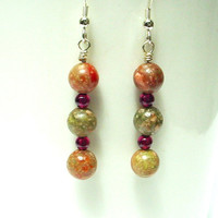 Jasper earrings, garnet beads earrings, multi gemstone earrings