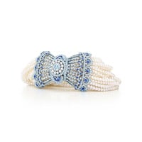 Tiffany & Co. - Edwardian-style Bracelet of Montana sapphires with Keshi pearls and diamonds set in platinum