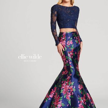 Ellie Wilde EW118092- Navy Blue/Multi