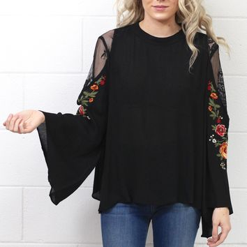 Sheer Lace + Embroidered Bell Sleeves Blouse {Black} EXTENDED SIZES