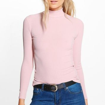 Petite Tanya Long Sleeve Rib Turtle Neck Top | Boohoo
