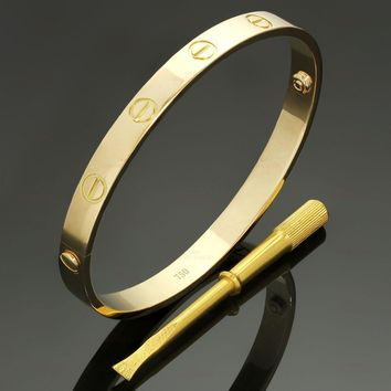 One-nice? CARTIER Love 18k Yellow Gold Bracelet Size 18