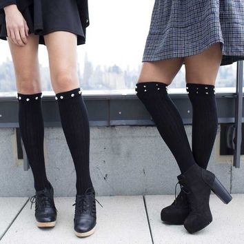 Black Knee High Boot Socks With Pointy Studs