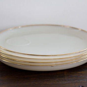 Vintage Milk Glass Luncheon Plates with Gold Rim