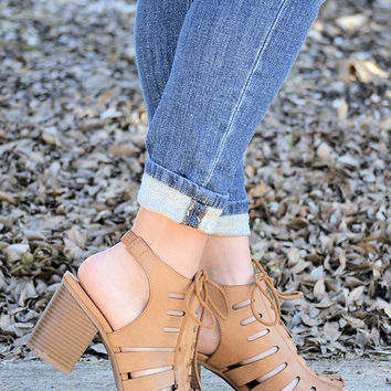 Socialite Lace-Up Heels-Tan