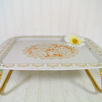 Vintage Roses EnamelWare Bed Tray Folding Table - Retro Metal ToleWare Portable Desk Design - Shabby Chic / BoHo Bistro Serving / Display