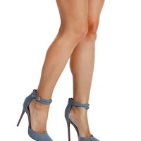 Lt. Blue Denim Step Ankle Strap Heels