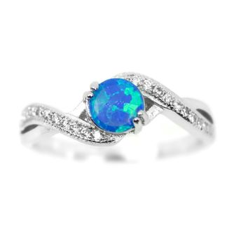 Sterling Silver Blue Opal and Crossed Band CZ Ring