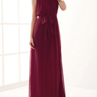 Wine Red Sleeveless Chiffon Maxi Dress