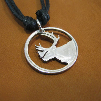 Caribou cut coin, canadian quarter, adjustable necklace