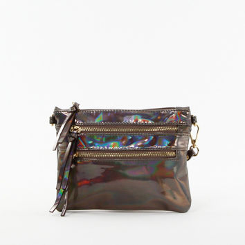 Iridescent Clutch in Pewter
