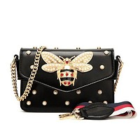 GUCCI Little Bee Pearl Pack Women's Fashionable Chain Bag F/A