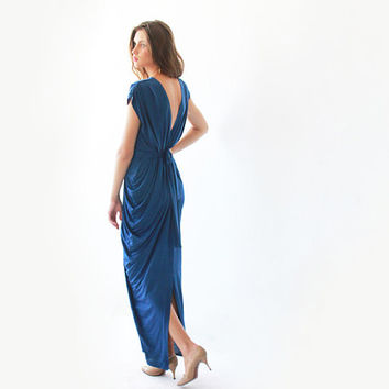 Blue maxi dress ,Sexy dress ,Bridesmaids dress , Open back dress , Backless dress , Open back dress