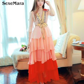 SexeMara Runway Dress Sequined Dress Elegant Beaded Sexy V Neck Cake Ruffles Long Sleeve Gradient Patchwork Long Dress