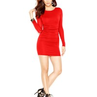 GUESS Long-Sleeve Ruched Body-Con Dress