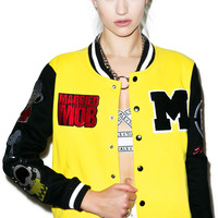 Married to the Mob Peanuts Varsity Jacket With Patches Yellow