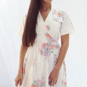 vintage 50s white FLORAL shirt dress R&K originals 60s pastel spring florals cotton day dress (Small, Medium ) pockets wrap style