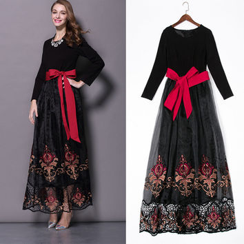 Heavy Crepe De Chine Embroidered Openwork Stitching Lace Long-sleeved Women Dress Big Swing In Europe And America 2015 New Fall