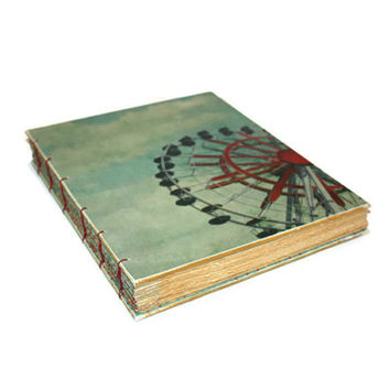 Ferris Wheel Wedding Guest Book Handmade Journal - Thin Heirloom - Anniversary- Home Gift