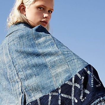 studio one eight nine Womens Batik Indigo Denim Cape