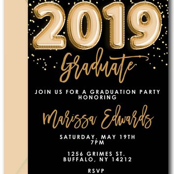Gold Balloons Graduation Invitations