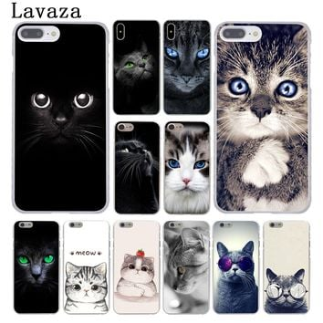 Lavaza kawaii Anime Black Cat Staring Eyes Hard Coque Shell Phone Case for Apple iPhone 8 7 6 6S Plus X 10 5 5S SE 5C 4 4S Cover