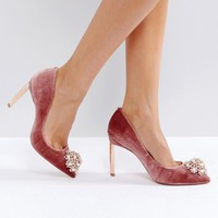Ted Baker Peetch Embellished Mink Velvet Pumps at asos.com