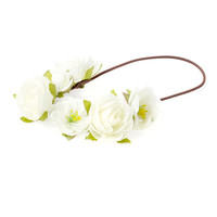 White Flower Garland Headwrap