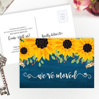 Housewarming gift ideas for couple | New home gift | we've moved cards PRINTED | 4x6 sunflower moving announcements