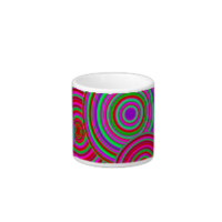 Pink and Green Retro Circles Pattern Espresso Cups