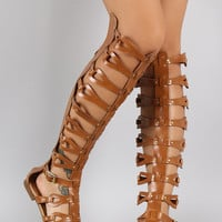 Studded Strappy Teardrop Open Toe Gladiator Flat Sandal