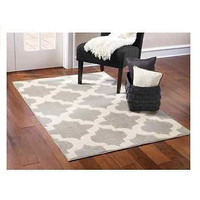 Silver/Ivory 7x9 Area Rug Quatrefoil Olefin Living Room Bedroom Home Decor New