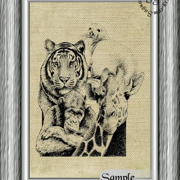 AFRICAN WILDLIFE - 8x10 inch Digital Illustration for Iron-on Transfers, Home Decor, Arts & Crafts sg177 - Instant Download