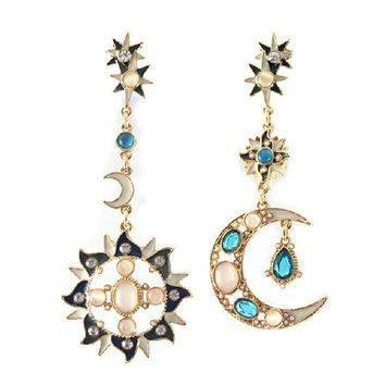 Moon And Sun Design Asymmetric Stud Earrings Decorated By Opals Women Fashion Jewelry