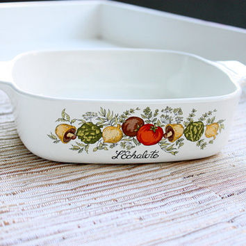 Vintage 1970s Corning Ware L'Echalote Casserole Dish / Baking Pan / Kitchenware / Made In The USA / Dinnerware